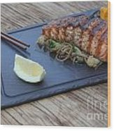 Char Grilled Salmon Wood Print