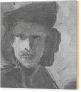 Charcoal Study Of Rembrandt  Self-portrait With Velvet Beret Wood Print