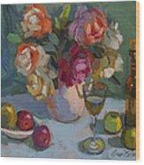Chardonnay And Roses Wood Print