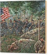 Charge Of The 20th Maine - Joshua L. Chamberlain Leading The 20th Maine Regiment On Little Round Top Wood Print