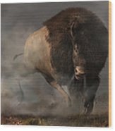 Charging Bison Wood Print by Daniel Eskridge