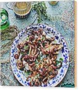 Chargrilled Lemon Oregano Octopus Wood Print