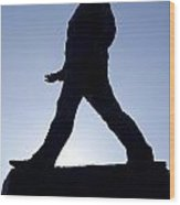 Charles De Gaulle Statue Silhouette On The Champs Elysees In Paris France Wood Print