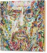 Charles Mingus Watercolor Portrait Wood Print
