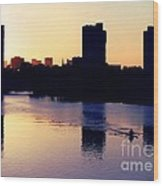 Charles River Rower At Dawn Wood Print by Kenny Glotfelty
