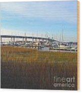 Charleston Harbor And Marsh Wood Print
