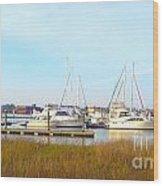 Charleston Harbor Boats Wood Print