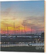 Charleston Harbor Sunset Wood Print