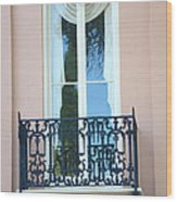 Charleston Pink White Architecture - Charleston Historical District French Quarter Window Balcony Wood Print