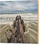 Charleston Sc Folly Beach Coastal Atlantic Ocean Wood Print