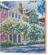 Charleston's Rainbow Row Wood Print by Alice Grimsley