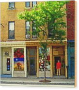 Charlevoix And Notre Dame Little Antique Shops St Henri Art Montreal Street Scene Carole Spandau Wood Print