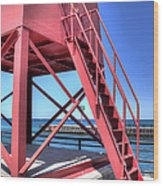 Charlevoix Lighthouse Steps Wood Print