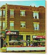 Charlevoix Pizza Et Chic Regal Rue Centre Scenes De Rue Pointe St Charles City Scenes Carole Spandau Wood Print