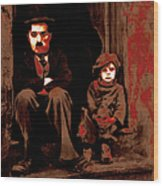 Charlie Chaplin 20130212-2-square Wood Print by Wingsdomain Art and Photography