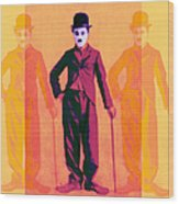 Charlie Chaplin The Tramp Three 20130216 Wood Print by Wingsdomain Art and Photography