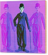 Charlie Chaplin The Tramp Three 20130216m108 Wood Print by Wingsdomain Art and Photography