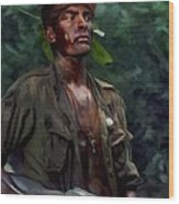Charlie Sheen In Platoon Wood Print