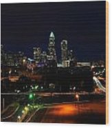Charlotte Nc At Night Wood Print by Chris Flees