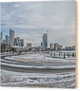 Charlotte North Carolina Skyline In Winter Wood Print