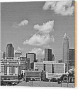 Charlotte Skyline In Black And White Wood Print