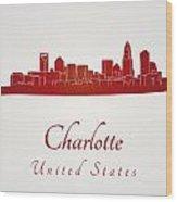 Charlotte Skyline In Red Wood Print