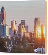 Charlotte Skyline In The Evening Before Sunset Wood Print