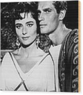 Charlton Heston And Marina Berti Wood Print