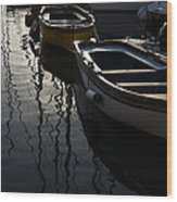 Charming Old Wooden Boats In The Harbor Wood Print