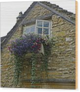 Charming Window And Flowers Wood Print