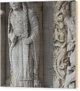 Chartres Cathedral Female Pilgrim Wood Print