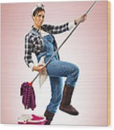 Charwoman On Pink Wood Print