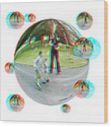 Chasing Bubbles - Red/cyan Filtered 3d Glasses Required Wood Print
