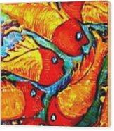Chasing Red Fish Wood Print