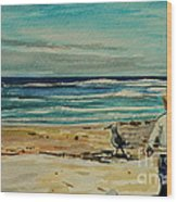 Chasing The Seagull Wood Print