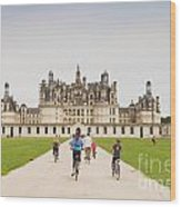 Chateau Chambord And Cyclists Wood Print