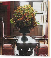Chateau De Chenonceau Flowers And Chairs Wood Print
