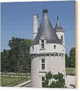Chateau Chenonceau Tower And Moat Wood Print