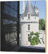 Chateau Chenonceau Tower Through Open Window  Wood Print