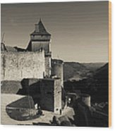 Chateau De Castelnaud With Hot Air Wood Print