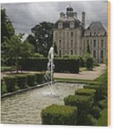 Chateau De Cheverny With Garden Fountain Wood Print