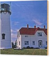 Chatham Light Wood Print by Skip Willits