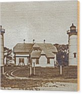 Chatham Twin Lights 1908-18 Wood Print by Skip Willits