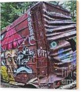 Cheakamus Box Car Graffiti Wood Print