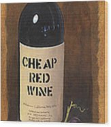 Cheap Red Wine Wood Print