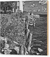 Cheboygan Lighthouse Bw Wood Print