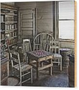 Checker Game Setting In A Back Room No. 3105 Wood Print