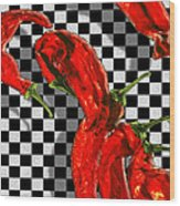 Checker Peppers Wood Print