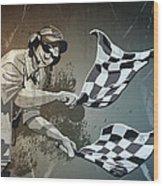 Checkered Flag Grunge Monochrome Wood Print