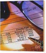 Checking Account Statement Wood Print